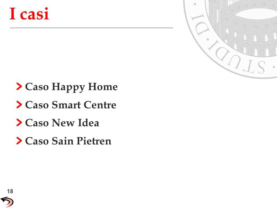18 Unisys Confidential I casi Caso Happy Home Caso Smart Centre Caso New Idea Caso Sain Pietren