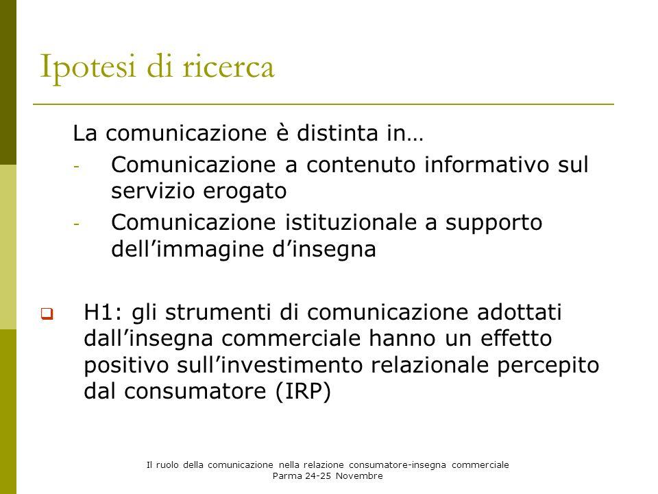 Il ruolo della comunicazione nella relazione consumatore-insegna commerciale Parma 24-25 Novembre La percezione di investimento da parte della controparte nei propri confronti alimenta laspettativa che questa nel futuro continuerà a comportarsi a favore della relazione.