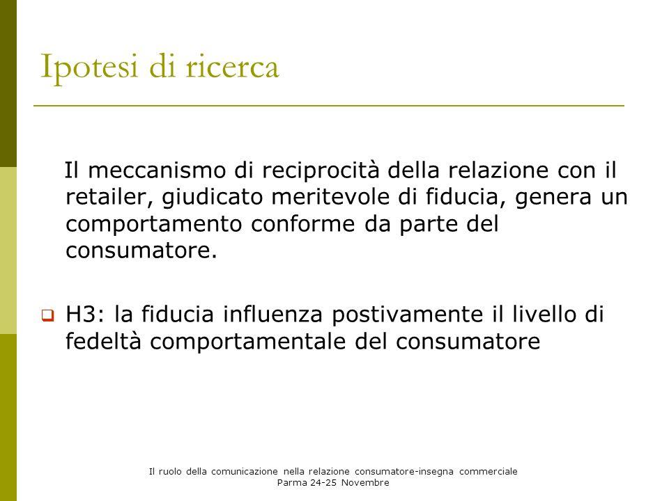 Il ruolo della comunicazione nella relazione consumatore-insegna commerciale Parma 24-25 Novembre Modello Concettuale e Ipotesi di Ricerca Comunicazion e a contenuto informativo Comunicazione istituzionale Fedeltà Fiducia IRP H1: gli strumenti di comunicazione adottati dallinsegna commerciale hanno un effetto positivo sullinvestimento relazionale percepito dal consumatore (IRP) H2: la variabile IRP influenza positivamente il livello di fiducia del consumatore verso linsegna commerciale H3: la fiducia influenza positivamente il livello di fedeltà comportamentale del consumatore