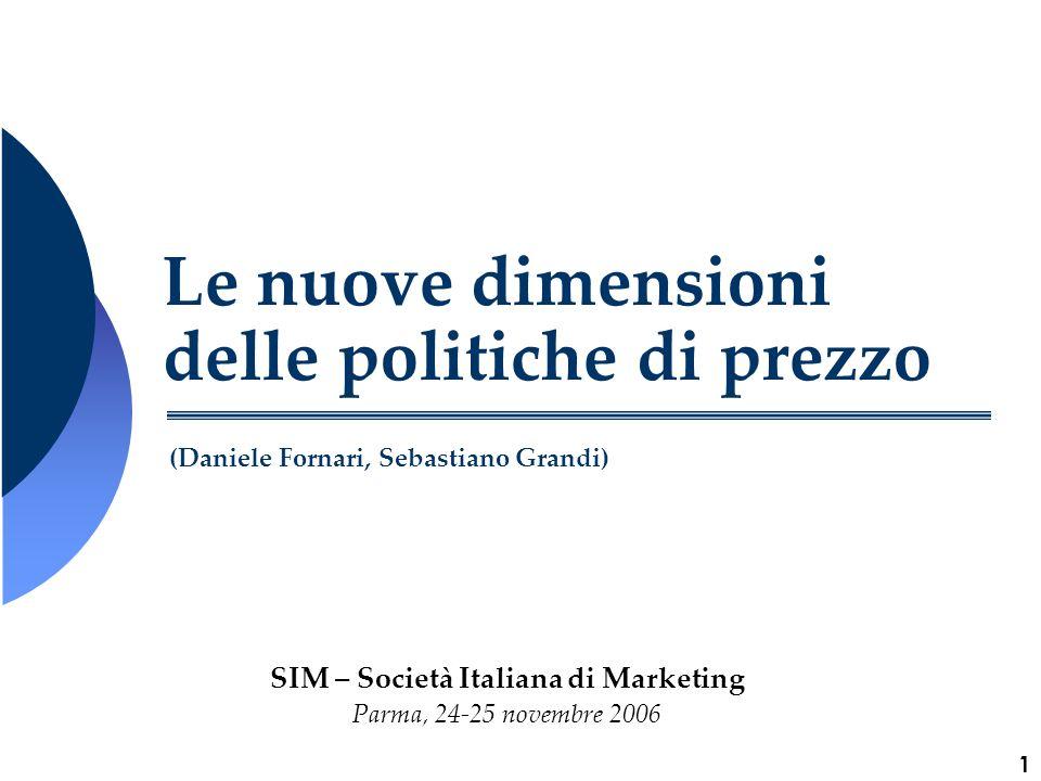 1 Le nuove dimensioni delle politiche di prezzo SIM – Società Italiana di Marketing Parma, 24-25 novembre 2006 (Daniele Fornari, Sebastiano Grandi)