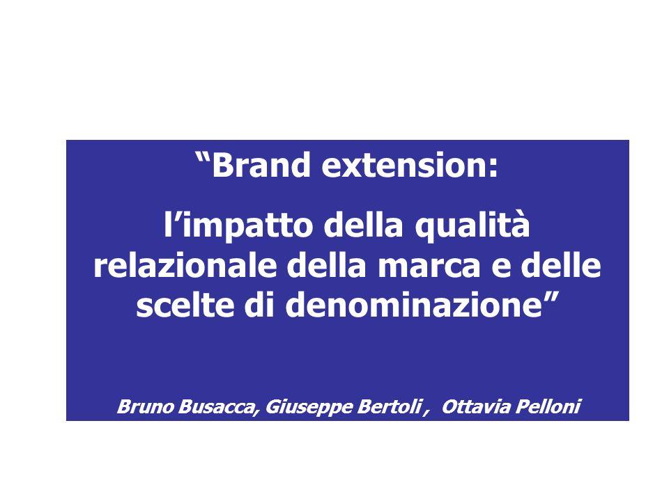 Brand extension: limpatto della qualità relazionale della marca e delle scelte di denominazione Bruno Busacca, Giuseppe Bertoli, Ottavia Pelloni