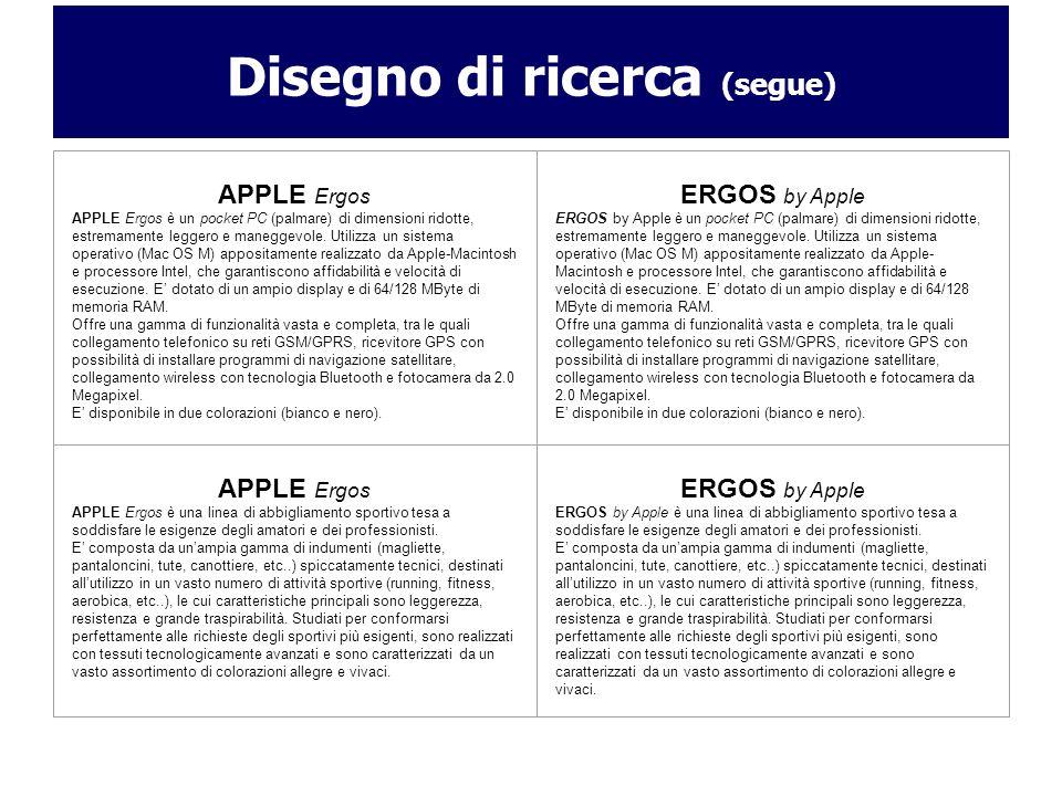 Disegno di ricerca (segue) APPLE Ergos APPLE Ergos è un pocket PC (palmare) di dimensioni ridotte, estremamente leggero e maneggevole. Utilizza un sis