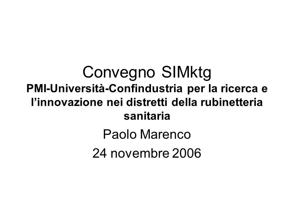 Convegno SIMktg PMI-Università-Confindustria per la ricerca e linnovazione nei distretti della rubinetteria sanitaria Paolo Marenco 24 novembre 2006