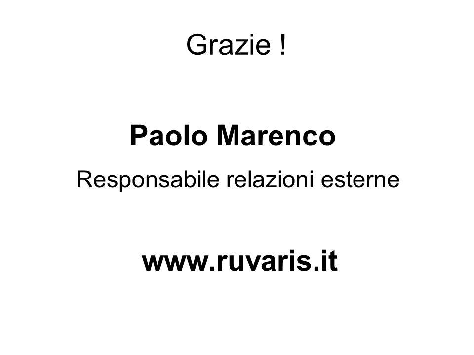 Grazie ! Paolo Marenco Responsabile relazioni esterne www.ruvaris.it