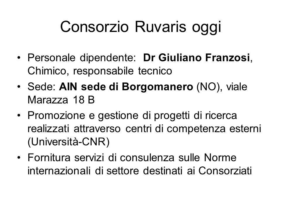 Consorzio Ruvaris oggi Personale dipendente: Dr Giuliano Franzosi, Chimico, responsabile tecnico Sede: AIN sede di Borgomanero (NO), viale Marazza 18