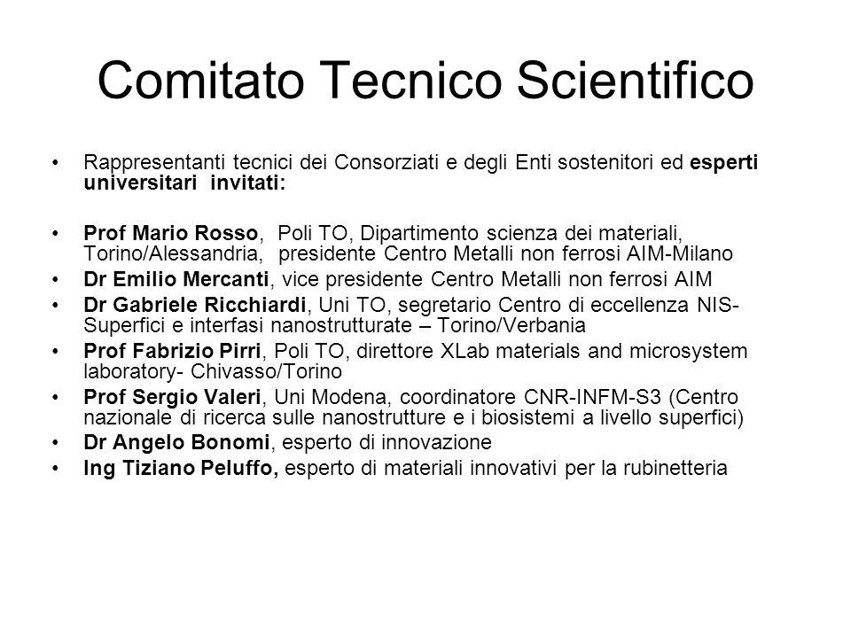 Comitato Tecnico Scientifico Rappresentanti tecnici dei Consorziati e degli Enti sostenitori ed esperti universitari invitati: Prof Mario Rosso, Poli