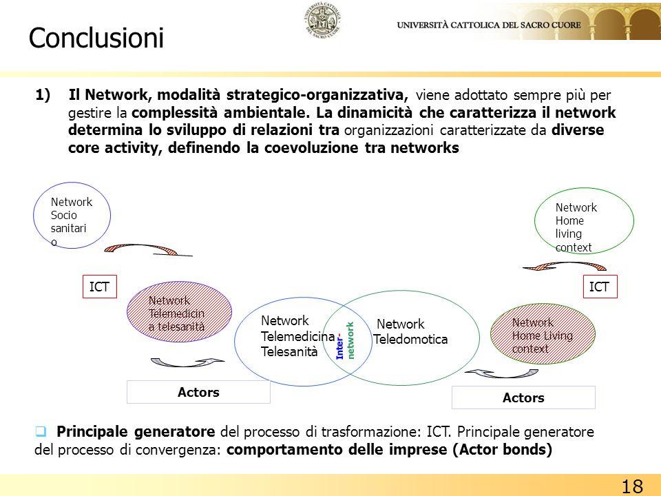 18 Network Socio sanitari o Network Teledomotica Network Telemedicina Telesanità Inter- network 1) Il Network, modalità strategico-organizzativa, vien