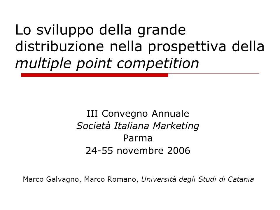Obiettivi del lavoro applicare la Multiple Point Competition allanalisi delle dinamiche competitive della GD italiana analizzare linterdipendenza delle decisioni di ingresso in un dato mercato in termini di: scelte localizzative effettuate in altri mercati comportamenti competitivi dei concorrenti