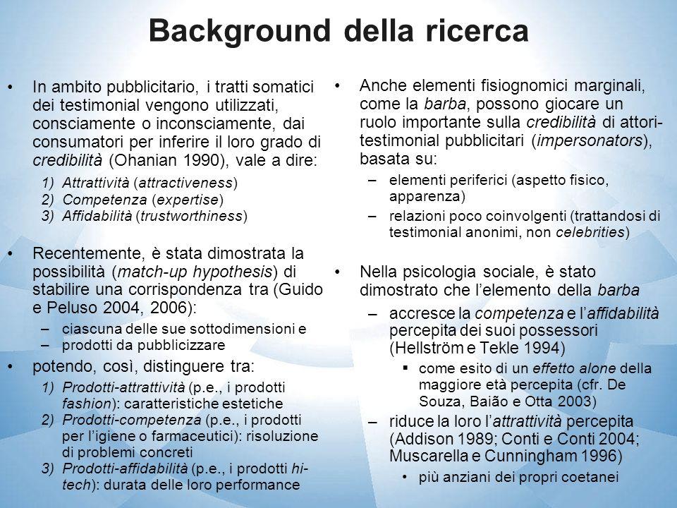 Background della ricerca In ambito pubblicitario, i tratti somatici dei testimonial vengono utilizzati, consciamente o inconsciamente, dai consumatori