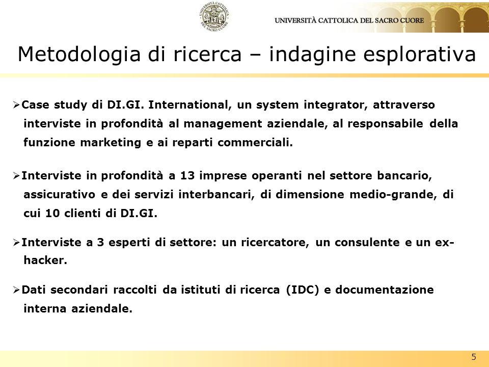 5 Metodologia di ricerca – indagine esplorativa Case study di DI.GI. International, un system integrator, attraverso interviste in profondità al manag