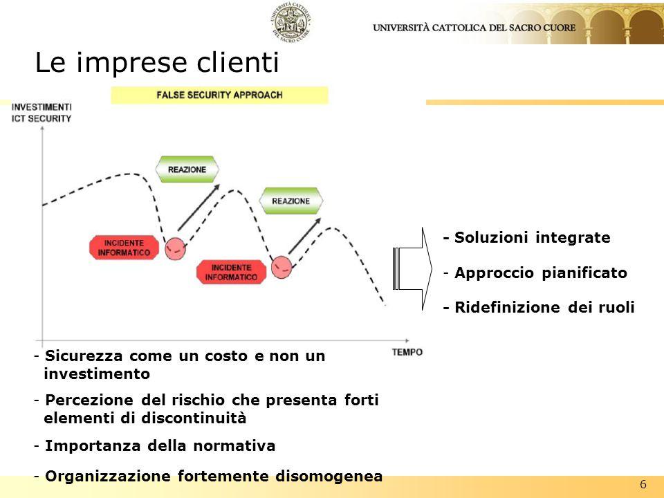6 Le imprese clienti - Soluzioni integrate - Approccio pianificato - Ridefinizione dei ruoli - Sicurezza come un costo e non un investimento - Percezi