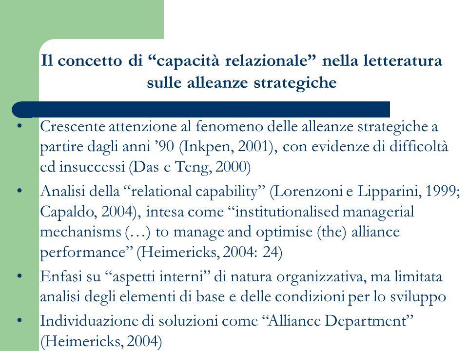 Crescente attenzione al fenomeno delle alleanze strategiche a partire dagli anni 90 (Inkpen, 2001), con evidenze di difficoltà ed insuccessi (Das e Teng, 2000) Analisi della relational capability (Lorenzoni e Lipparini, 1999; Capaldo, 2004), intesa come institutionalised managerial mechanisms (…) to manage and optimise (the) alliance performance (Heimericks, 2004: 24) Enfasi su aspetti interni di natura organizzativa, ma limitata analisi degli elementi di base e delle condizioni per lo sviluppo Individuazione di soluzioni come Alliance Department (Heimericks, 2004) Il concetto di capacità relazionale nella letteratura sulle alleanze strategiche