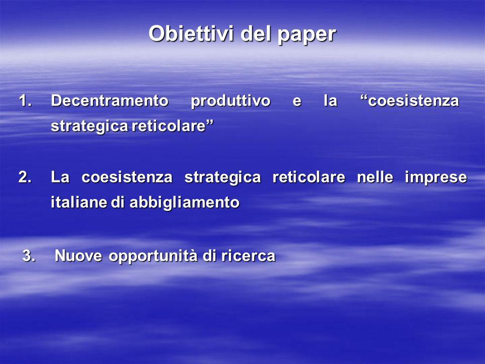 Obiettivi del paper 1.Decentramento produttivo e la coesistenza strategica reticolare 2.La coesistenza strategica reticolare nelle imprese italiane di
