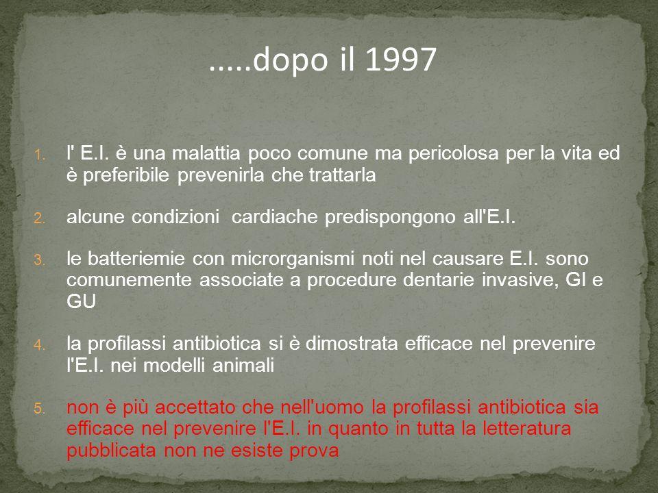 .....dopo il 1997 1. l' E.I. è una malattia poco comune ma pericolosa per la vita ed è preferibile prevenirla che trattarla 2. alcune condizioni cardi