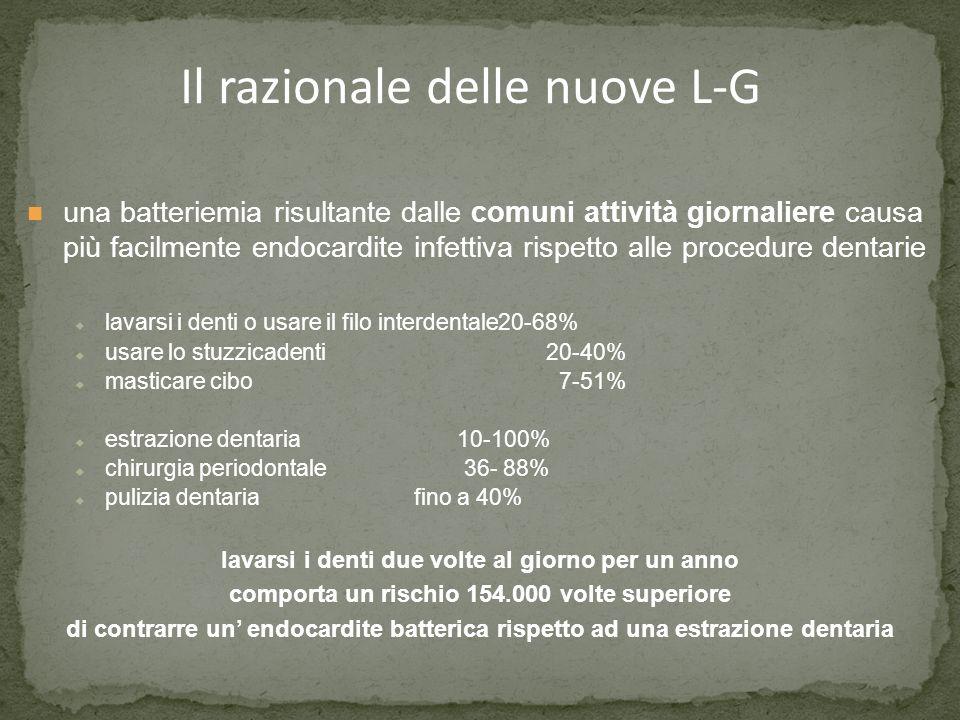 Il razionale delle nuove L-G una batteriemia risultante dalle comuni attività giornaliere causa più facilmente endocardite infettiva rispetto alle pro