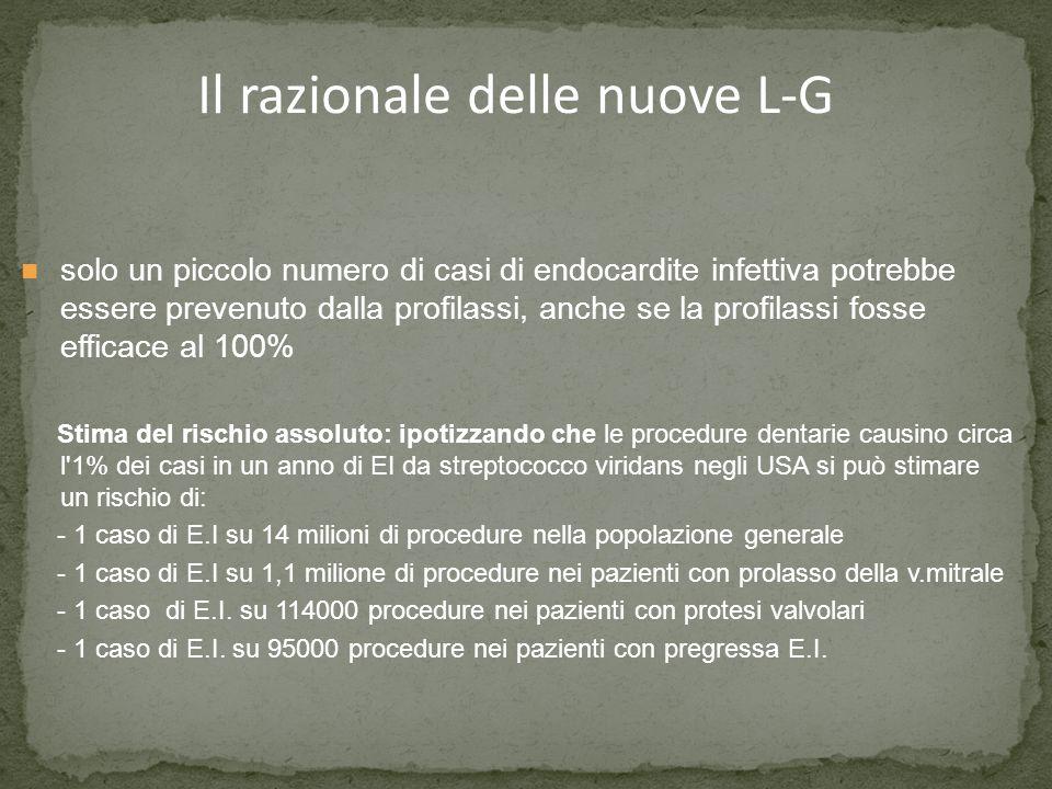Il razionale delle nuove L-G solo un piccolo numero di casi di endocardite infettiva potrebbe essere prevenuto dalla profilassi, anche se la profilass