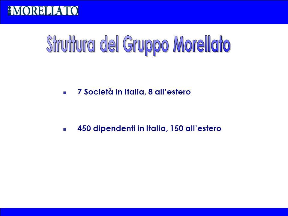 7 Società in Italia, 8 allestero 450 dipendenti in Italia, 150 allestero