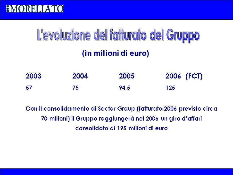 (in milioni di euro) 2003 200420052006 (FCT) 577594,5125 Con il consolidamento di Sector Group (fatturato 2006 previsto circa 70 milioni) il Gruppo ra