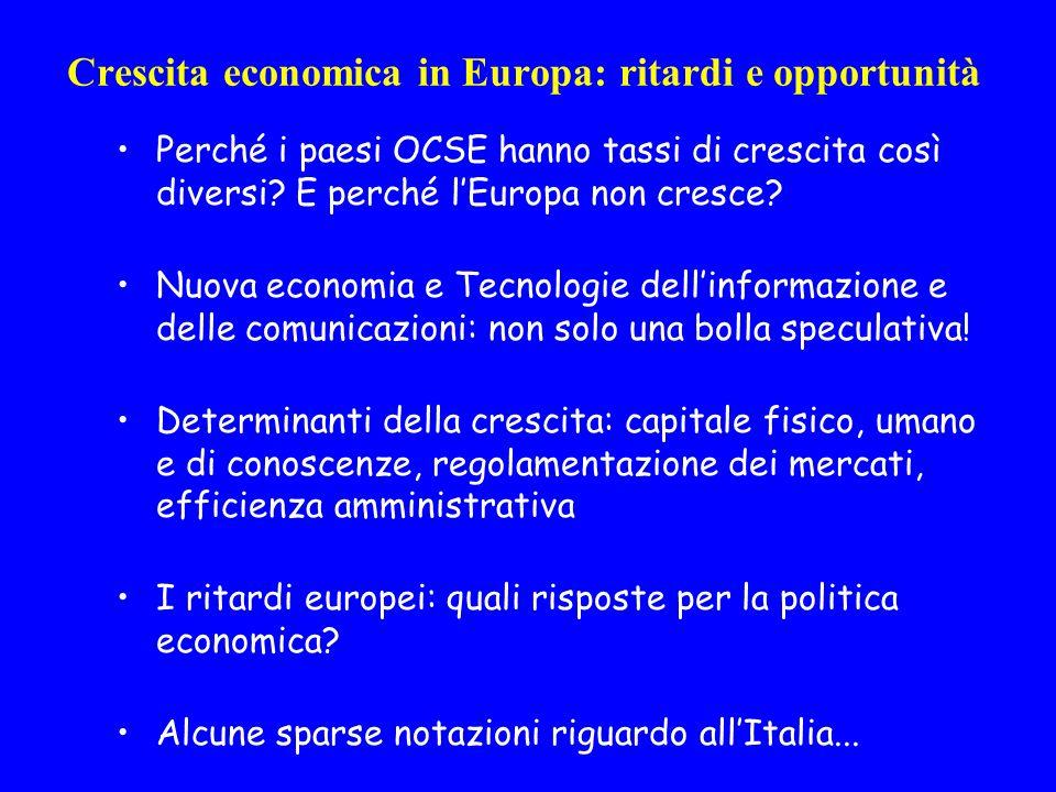 Crescita economica in Europa: ritardi e opportunità Perché i paesi OCSE hanno tassi di crescita così diversi.