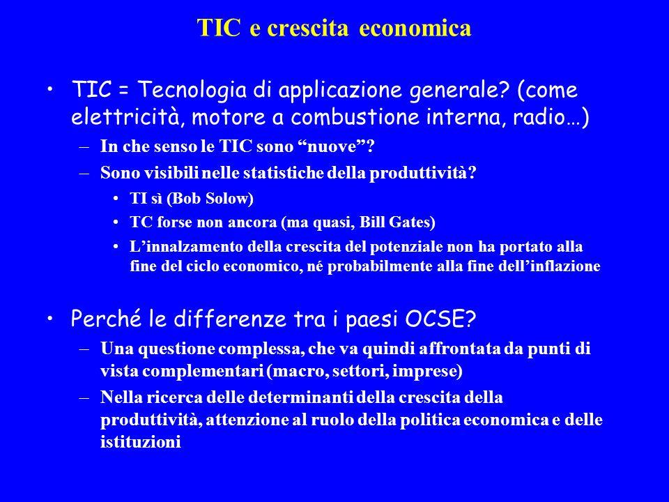 TIC e crescita economica TIC = Tecnologia di applicazione generale.