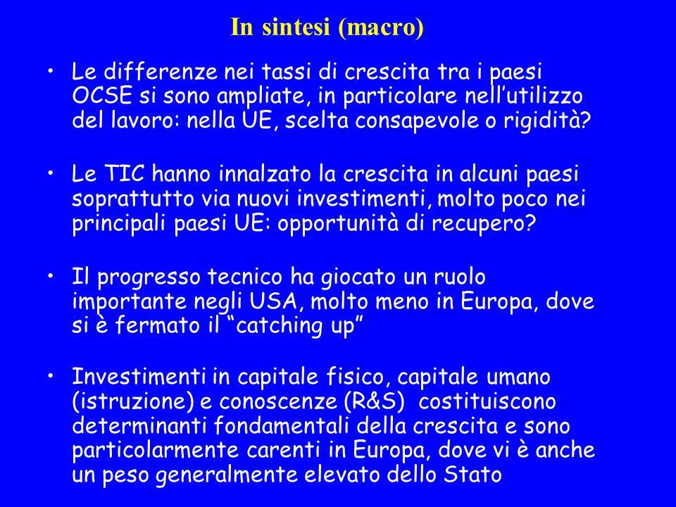 In sintesi (macro) Le differenze nei tassi di crescita tra i paesi OCSE si sono ampliate, in particolare nellutilizzo del lavoro: nella UE, scelta consapevole o rigidità.