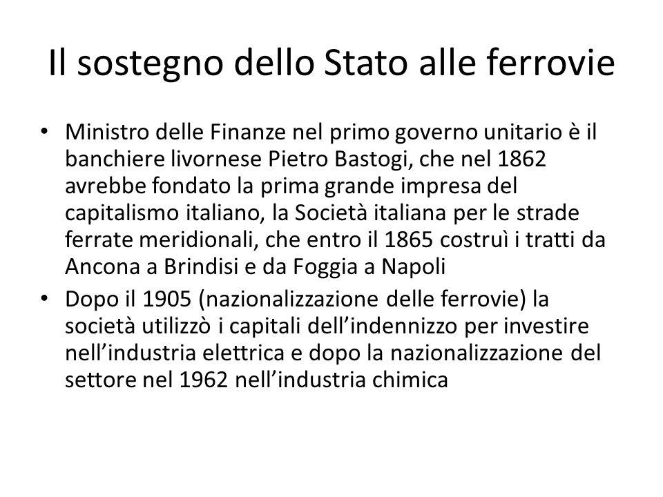 Il sostegno dello Stato alle ferrovie Ministro delle Finanze nel primo governo unitario è il banchiere livornese Pietro Bastogi, che nel 1862 avrebbe