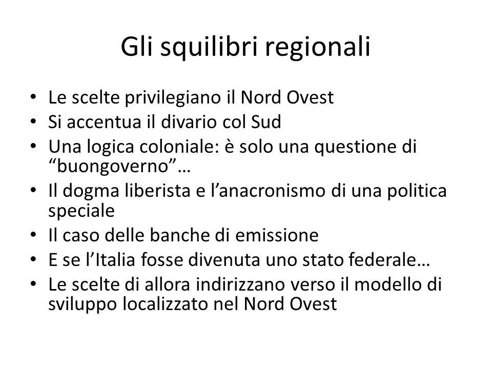 Gli squilibri regionali Le scelte privilegiano il Nord Ovest Si accentua il divario col Sud Una logica coloniale: è solo una questione di buongoverno…