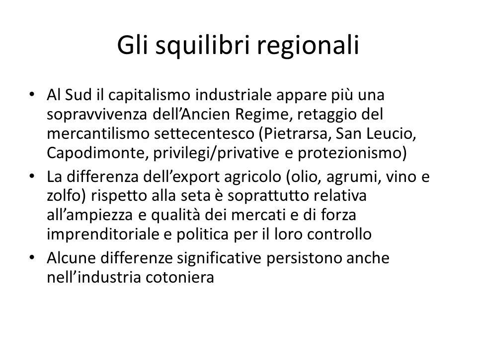 Gli squilibri regionali Al Sud il capitalismo industriale appare più una sopravvivenza dellAncien Regime, retaggio del mercantilismo settecentesco (Pi