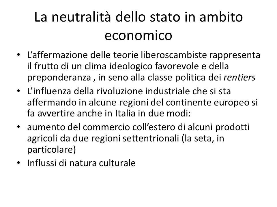 La neutralità dello stato in ambito economico Laffermazione delle teorie liberoscambiste rappresenta il frutto di un clima ideologico favorevole e del