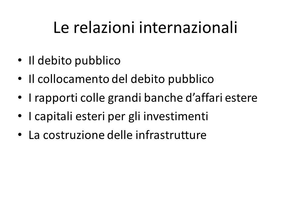 Le relazioni internazionali Il debito pubblico Il collocamento del debito pubblico I rapporti colle grandi banche daffari estere I capitali esteri per