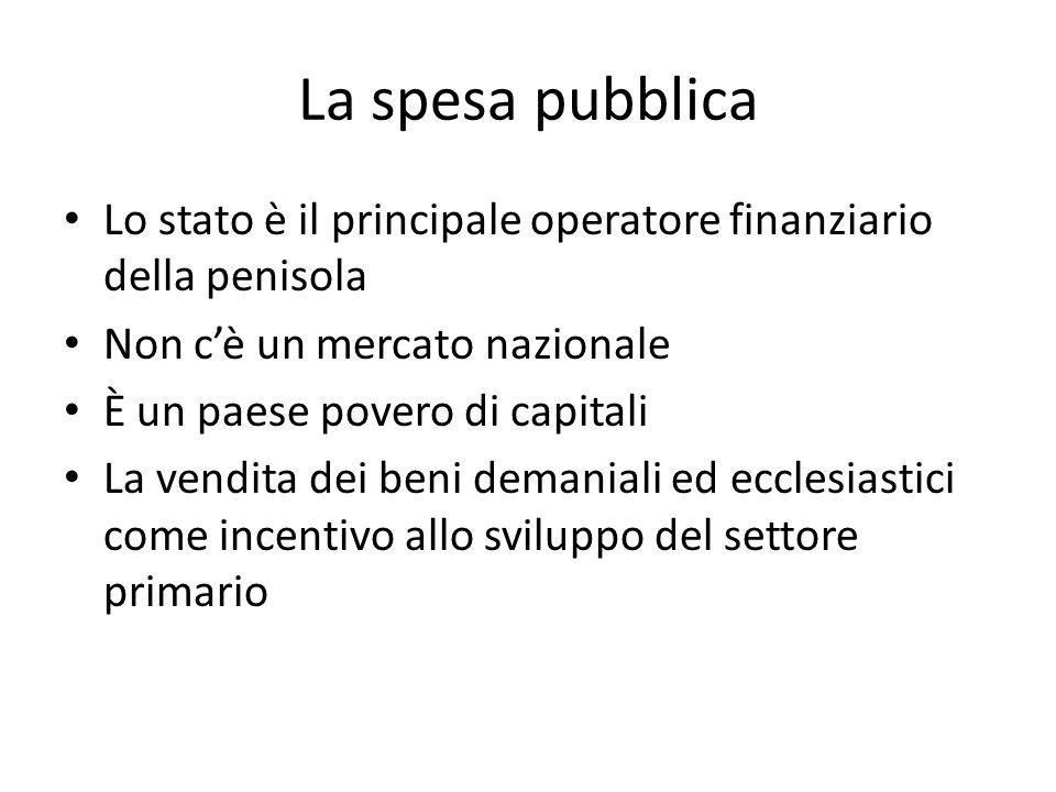 La spesa pubblica Lo stato è il principale operatore finanziario della penisola Non cè un mercato nazionale È un paese povero di capitali La vendita d