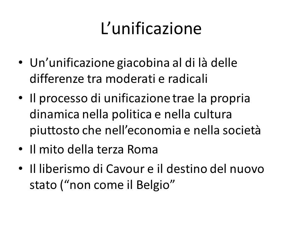 Lunificazione Ununificazione giacobina al di là delle differenze tra moderati e radicali Il processo di unificazione trae la propria dinamica nella po