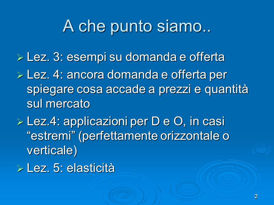 3 Cosa faremo oggi: Lez.5: il concetto di elasticità Lez.