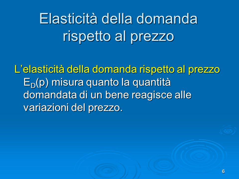 7 Domanda anelastica ed elastica Domanda anelastica Domanda anelastica La quantità domandata non risponde fortemente alle variazioni del prezzo.