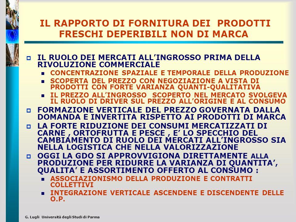 G. Lugli Università degli Studi di Parma IL RAPPORTO DI FORNITURA DEI PRODOTTI FRESCHI DEPERIBILI NON DI MARCA IL RUOLO DEI MERCATI ALLINGROSSO PRIMA