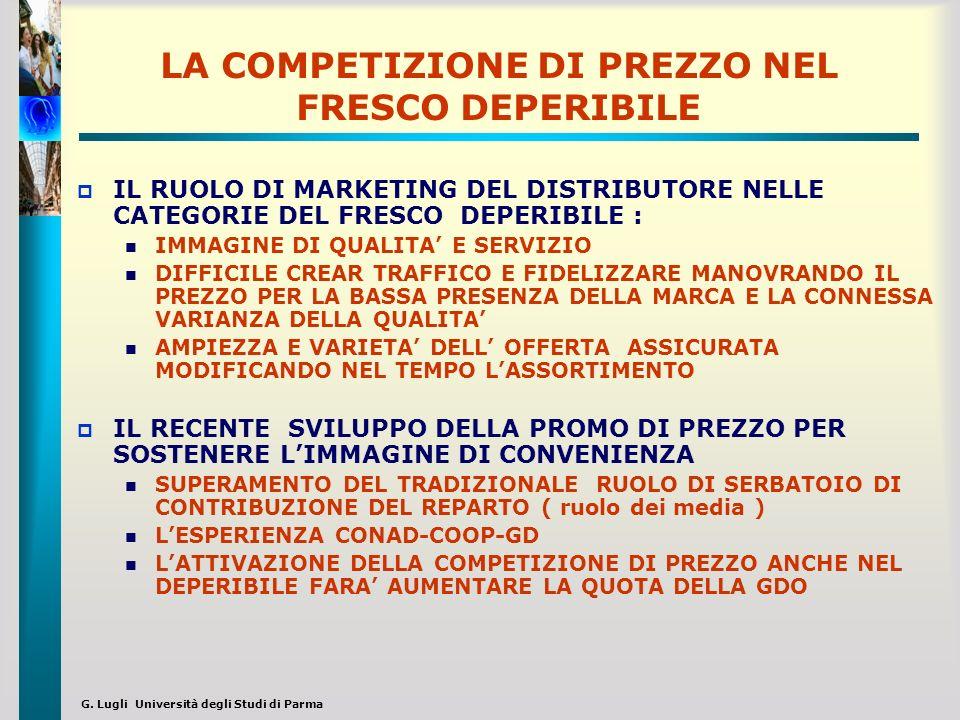 G. Lugli Università degli Studi di Parma LA COMPETIZIONE DI PREZZO NEL FRESCO DEPERIBILE IL RUOLO DI MARKETING DEL DISTRIBUTORE NELLE CATEGORIE DEL FR