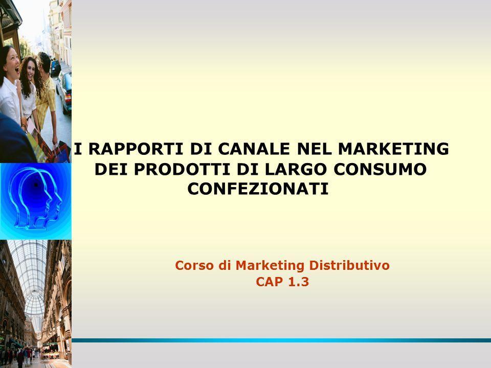 I RAPPORTI DI CANALE NEL MARKETING DEI PRODOTTI DI LARGO CONSUMO CONFEZIONATI Corso di Marketing Distributivo CAP 1.3