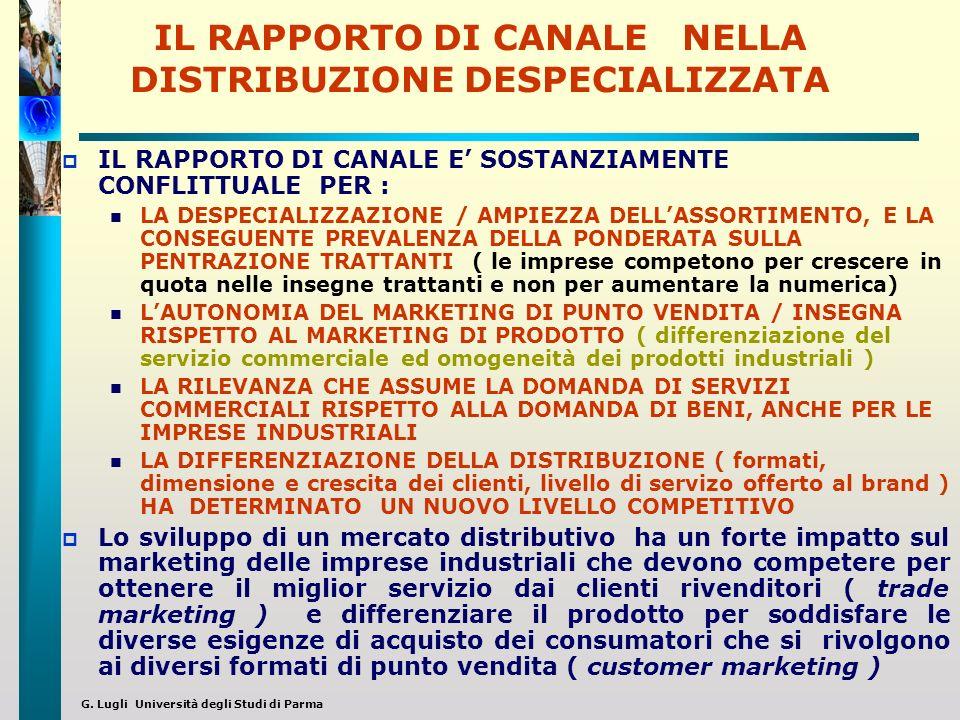G. Lugli Università degli Studi di Parma IL RAPPORTO DI CANALE NELLA DISTRIBUZIONE DESPECIALIZZATA IL RAPPORTO DI CANALE E SOSTANZIAMENTE CONFLITTUALE