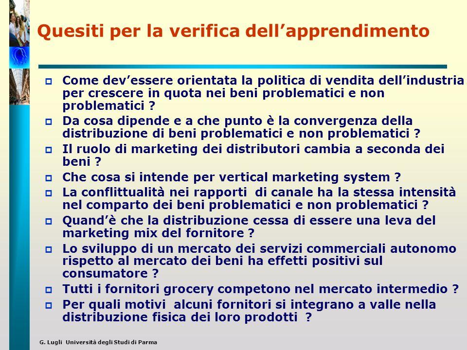 G. Lugli Università degli Studi di Parma Quesiti per la verifica dellapprendimento Come devessere orientata la politica di vendita dellindustria per c