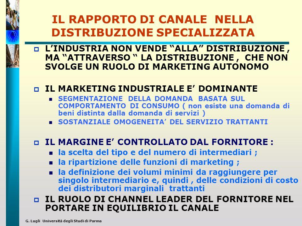 G. Lugli Università degli Studi di Parma IL RAPPORTO DI CANALE NELLA DISTRIBUZIONE SPECIALIZZATA LINDUSTRIA NON VENDE ALLA DISTRIBUZIONE, MA ATTRAVERS
