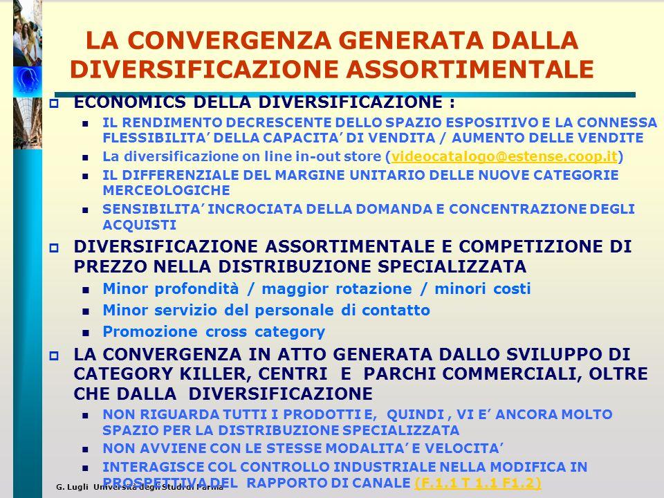 G. Lugli Università degli Studi di Parma LA CONVERGENZA GENERATA DALLA DIVERSIFICAZIONE ASSORTIMENTALE ECONOMICS DELLA DIVERSIFICAZIONE : IL RENDIMENT