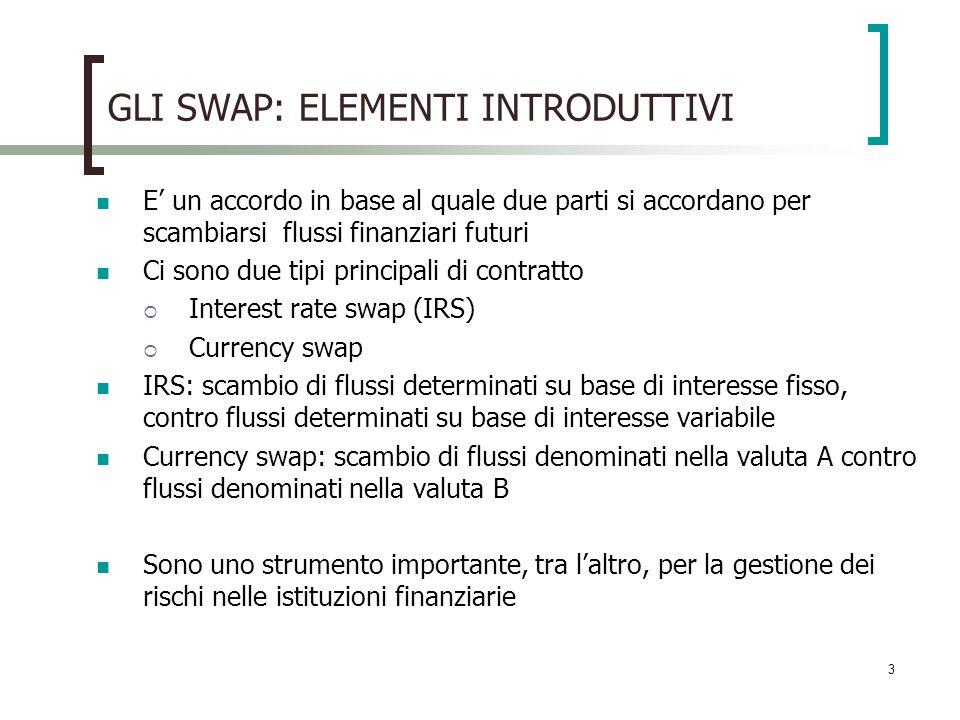 3 GLI SWAP: ELEMENTI INTRODUTTIVI E un accordo in base al quale due parti si accordano per scambiarsi flussi finanziari futuri Ci sono due tipi principali di contratto Interest rate swap (IRS) Currency swap IRS: scambio di flussi determinati su base di interesse fisso, contro flussi determinati su base di interesse variabile Currency swap: scambio di flussi denominati nella valuta A contro flussi denominati nella valuta B Sono uno strumento importante, tra laltro, per la gestione dei rischi nelle istituzioni finanziarie