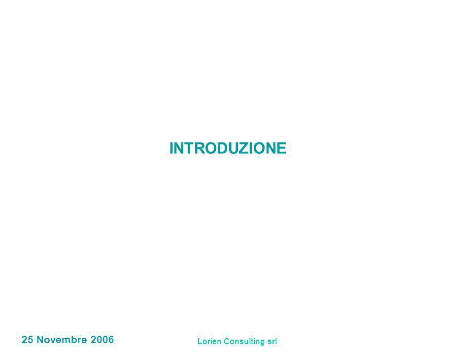 Lorien Consulting srl 25 Novembre 2006 INTRODUZIONE