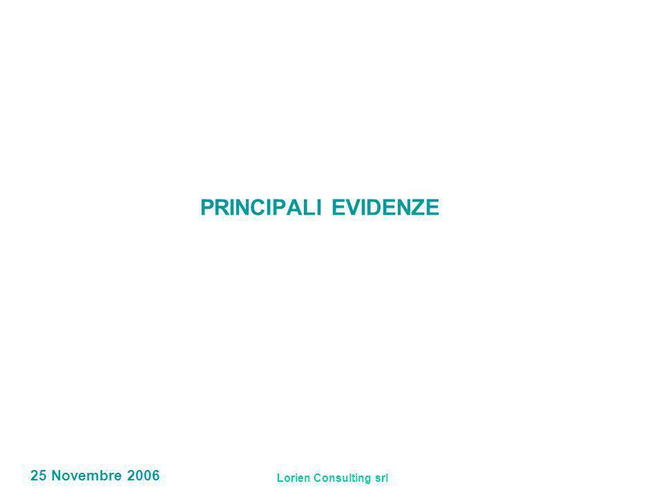 Lorien Consulting srl 25 Novembre 2006 PRINCIPALI EVIDENZE