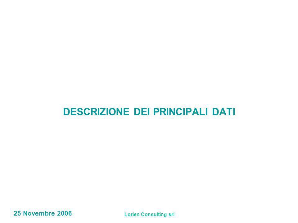 Lorien Consulting srl 25 Novembre 2006 DESCRIZIONE DEI PRINCIPALI DATI