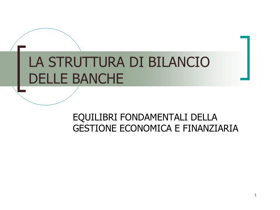 1 LA STRUTTURA DI BILANCIO DELLE BANCHE EQUILIBRI FONDAMENTALI DELLA GESTIONE ECONOMICA E FINANZIARIA