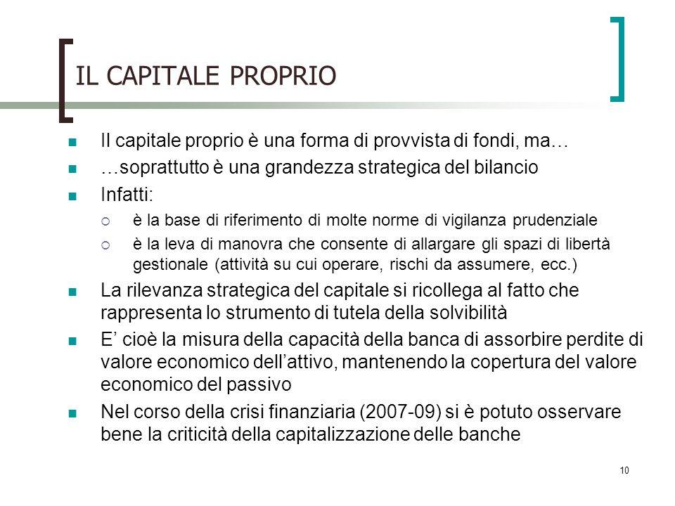 10 IL CAPITALE PROPRIO Il capitale proprio è una forma di provvista di fondi, ma… …soprattutto è una grandezza strategica del bilancio Infatti: è la b
