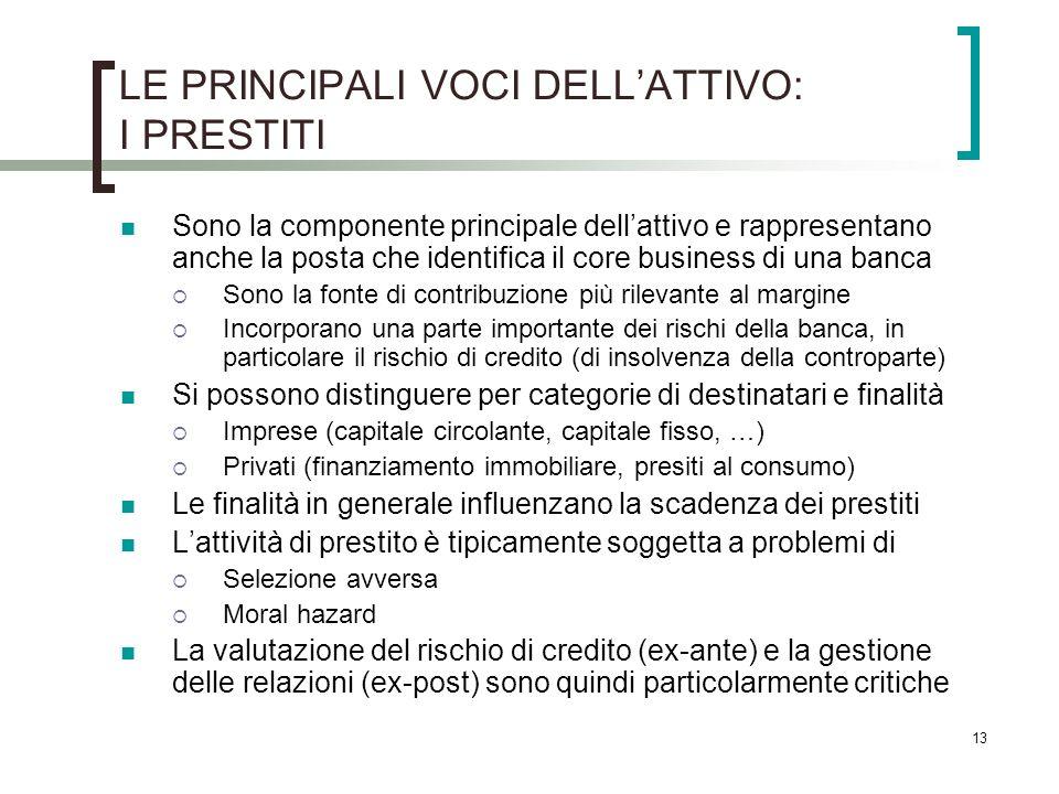 13 LE PRINCIPALI VOCI DELLATTIVO: I PRESTITI Sono la componente principale dellattivo e rappresentano anche la posta che identifica il core business d