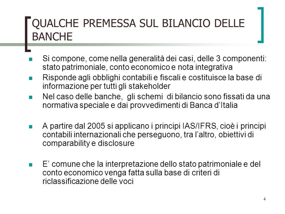 4 QUALCHE PREMESSA SUL BILANCIO DELLE BANCHE Si compone, come nella generalità dei casi, delle 3 componenti: stato patrimoniale, conto economico e not