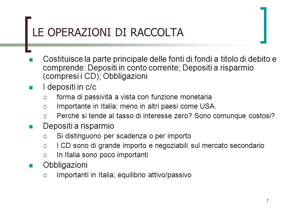 7 LE OPERAZIONI DI RACCOLTA Costituisce la parte principale delle fonti di fondi a titolo di debito e comprende: Depositi in conto corrente; Depositi